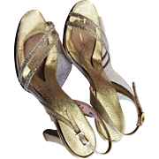 Vintage 1970's Metallic Gold & Clear Lucite Heels
