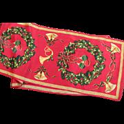 Beautiful Vintage Silk Christmas Scarf