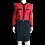Fabulous Two Piece Bomber Jacket & Skirt By St. John Knits