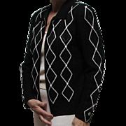 St. John's Black & White Fancy Knitted Argyle Style Jacket