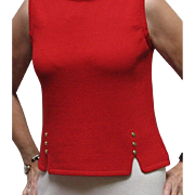 St. John's Little Red Sleeveless Top With Little Gold Buttons