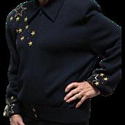 St. John Three Piece Dark Navy Knit Jacket, Pants & Cap Sleeve Top