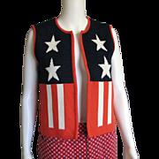Grand 1960's America The Beautiful Red White Blue Vest
