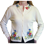 Vintage 1950's Virgin Cashmere Sweater, Vintage Appliqued Flower Sweater