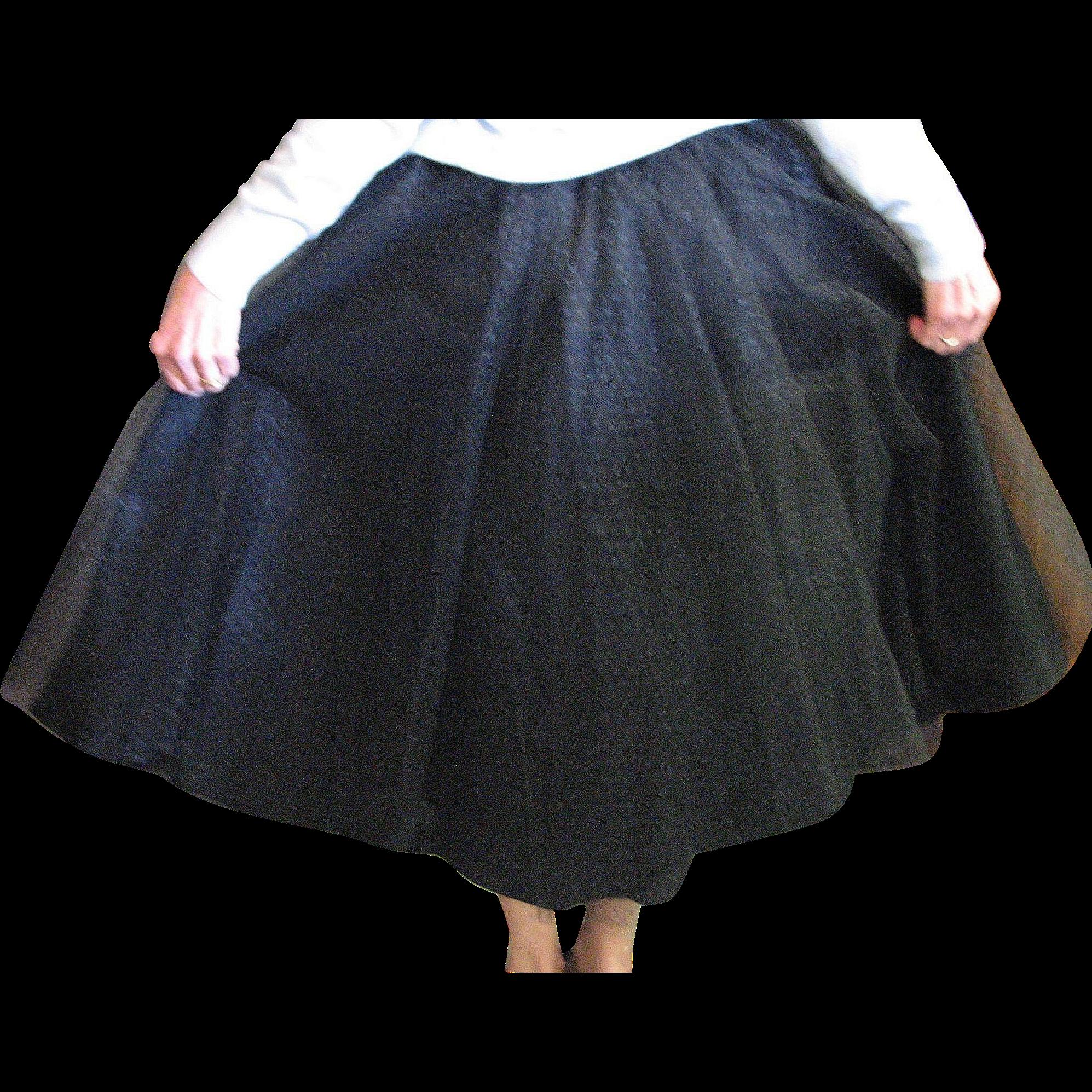 Vintage Stunning Black Taffeta & Net Circle Skirt from ...