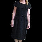 Vintage Little Black Shaw Collared Dress