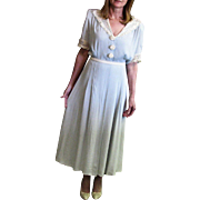 Vintage 1940's Light Blue Crape Dress