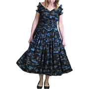 Vintage 1950's Full Skirt Black and Turquoise Cotton Dress