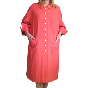 Lovely Coral Vintage Spring Wool Basket Woven Coat