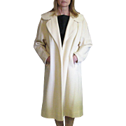 Vintage 1960's Betty Rose Nearly White Long Open Style Coat