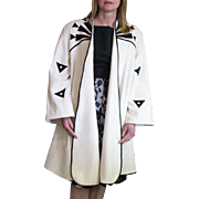 Vintage White With Black Suede Long Swing Cotton Coat