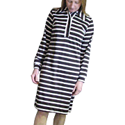 Vintage Dutchmaid, Ephrata, Pa. Label Brown & White Stripe Shirt Dress