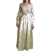 Vintage Huey Waltzer For Mannequin Gold & White Lame Dress Floor Length Dress