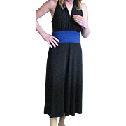 Vintage 1980's Evan-Picone Black Dress With Sapphire Blue Sewn In Cummerbund Dress