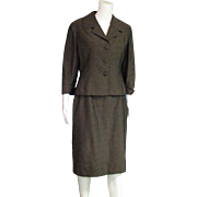 Vintage Brown Two Piece 40-50's Suit Of Imported Fabric