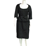 Classy Black Vintage 1950's Glass Bead Decorated Sheath Dress