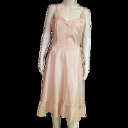 Wonderful Vintage 1950's Pink White or Light Blue Satin Slip With Side Zipper