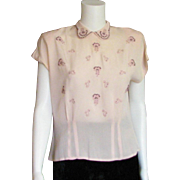 Beautiful Vintage 1950's Embroidered Blouse