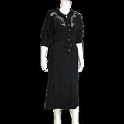 Spectacular Koldin Original Vintage 1940's Black Knit & Lace Two Piece Suit/Set