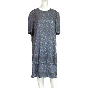 Vintage Smoke Colored Sequined Brilliante Labeled Dress