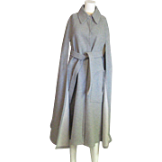 Outstanding Light Gray Vintage Wool Cape With Belt