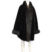 Handsome Vintage Black Faux Fur With Brown Faux Fox Trim Warm Winter Coat