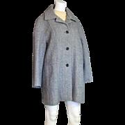 Vintage Black & White Tweed Winter Wool Car Coat