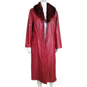 Vintage 1980's Red Leather Long Coat With Dyed Red Rabbit Fur Collar