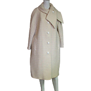 Vintage 1960's  Ivory Wool Full Length Coat