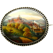 A Silver Framed Victorian Porcelain Miniature Scene From Heidelberg Brooch