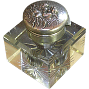 "An Art Nouveau Unger Bros. Sterling ""Love's Dream"" Inkwell"