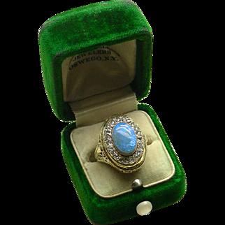 A 14K Yellow Gold Filigree Opal & Diamond Ring 1920s