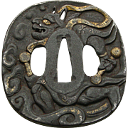 Edo Period Japanese Tsuba (Sword-Guard) Depicting Raijin, God Of Thunder