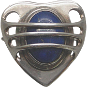 A Spectacular Large Silver & Lapis Arts & Crafts Design Brooch, Circa 1900