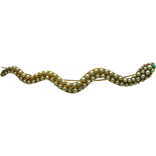 An 18K Victorian Large Pave Set Pearls, Turquoise, & Ruby Snake Brooch Circa 1839
