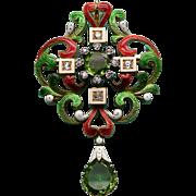 A Rare Large Holbeinesque 18K Enamel Peridot & Diamond Brooch & Pendant
