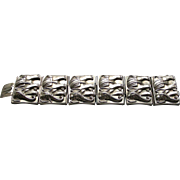 A Wide Sterling Silver Victorian High Relief Elephant Link Bracelet Circa 1890