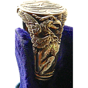 A 14K Art Nouveau Man's Figural Griffin Signet Ring Circa 1900 Signed Carter, Howe & Co.