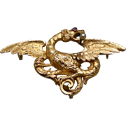 An 18K Figural Winged Griffin Brooch, Hallmarked Paris, Circa 1890
