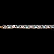A 14K Cabochons Aquamarines Gump's Chinoiserie Link Bracelet Circa 1960s