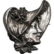 """Sterling Art Nouveau Large Unger Bros. """"Gibson Girl"""" Brooch Dated 1903"""