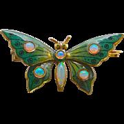 An Art Nouveau Enamel 14K Butterfly Pin With Opals
