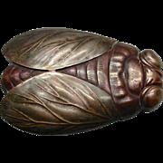 RARE Japanese Figural Cicada Patinated Metal Matchsafe Circa 1900
