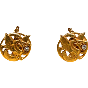 A Pair Of 18K Victorian Griffin Cufflinks With Diamonds