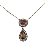 A 14K Georgian Precious Topaz & Pearl Necklace