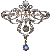 An Antique Art Nouveau Diamond & Moonstone Pin/Pendant Hallmarked Paris Circa 1900