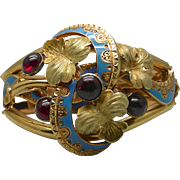 An 18K Enamel & Garnet Georgian French Gold Bracelet