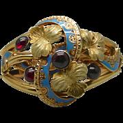 An 18K Enamel & Garnet Georgian French Gold Bracelet
