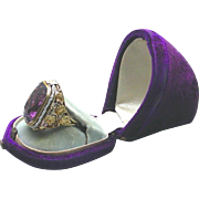 A 14K Arts & Crafts Amethyst Ring With Seed Pearls Circa 1900