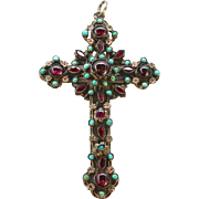 A Large Ornate Victorian Austro-Hungarian Silver Enamel Cross Set With Garnets & Turquoises, Circa 1880